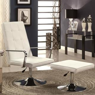 Silverado Contemporary Button-Tufted Design Adjustable Swivel Accent Chair and Ottoman Set