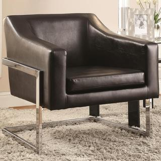 Zoli Mid Century Modern Design Black Upholstered Accent Chair with Chrome Base