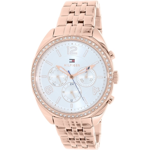 Tommy Hilfiger Men's 1781572 'Mia' Multi-Function Crystal Rose-Tone Silicone Watch - silver - N/A