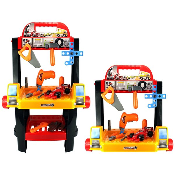 Velocity Toys 2-in-1 Rolling Cart and Workbench Children's Toy Work Shop Tool Set