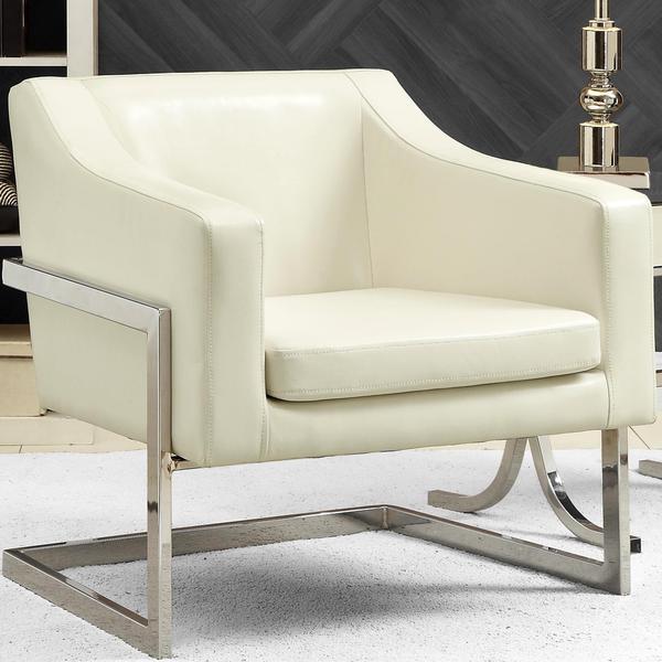 Bent Chrome Mid Century Modern Accent Chair: Shop Zoli Mid Century Modern Design Cream/ White