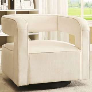 Galactica Art Deco Floating Design Upholstered Swivel Accent Chair