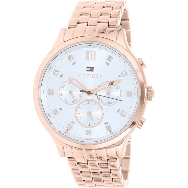 6b1c6f408b17 Shop Tommy Hilfiger Men s  Amelia  Multi-Function Crystal Rose-Tone Stainless  Steel Watch - silver - Free Shipping Today - Overstock - 11342577