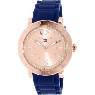 Tommy Hilfiger Men's 1781617 'Aubrey' Blue Silicone Watch - Rose-Tone - N/A