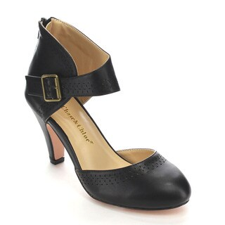 Chase & Chloe CC60 Women's Round Toe Mid Heel Hollow-out Back Zipper Pumps