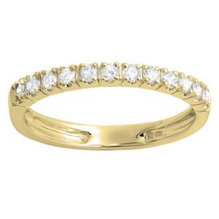 Elora 14k Yellow Gold 2/5ct TDW Round Diamond Anniversary Wedding Ring Stackable Band
