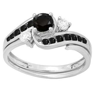 Elora 10k White Gold 7/8ct TDW Round Black And White Diamond Swirl Bridal Engagement Ring Set (H-I, I1-I2)