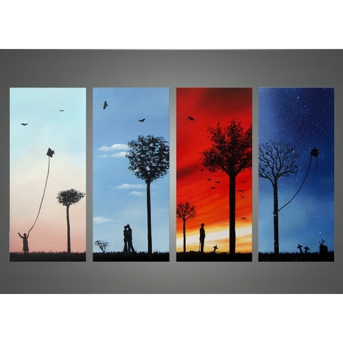 Life Canvas Art Painting- 4 Pieces, Multi, Size Oversized