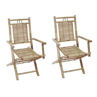 Handmade Set of 2 Bamboo Folding Arm Chairs (Vietnam)