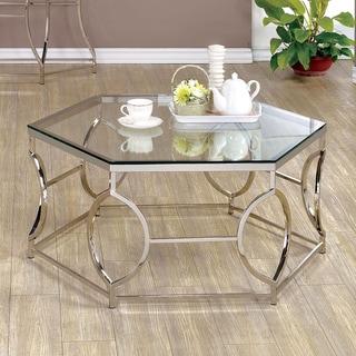 Furniture of America Martello Contemporary Chrome Glass Top Hexagon Coffee Table