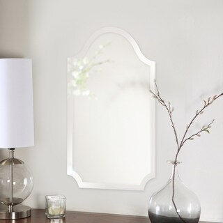 Tall Arched Scalloped Frameless Wall Mirror - Silver