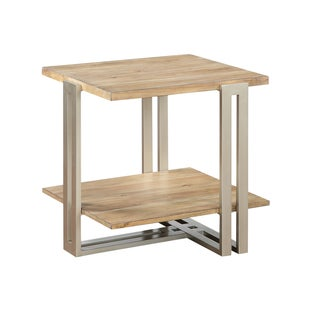 Elements Contemporary Wood Top and Shelf w/ Silver Metal Base End Table