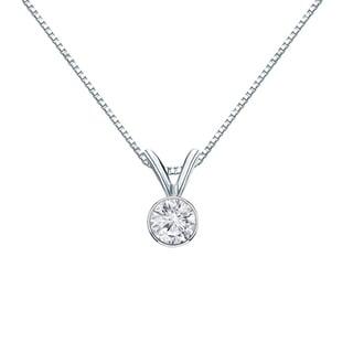 Auriya 14k Gold 1/4ct TDW Round-Cut Diamond Solitaire Bezel Necklace (H-I, VS1-VS2)