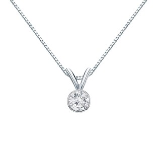Auriya 14k Gold 1/4ct TDW Bezel-Set Round Diamond Solitaire Necklace