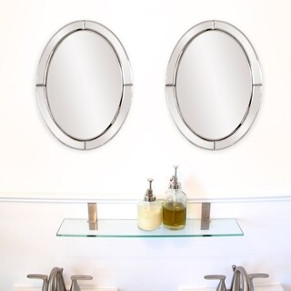 Allan Andrews Silver Oval Mirrored Frame Mirror