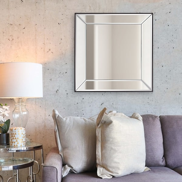 Shop Vogue Modern Square Wall Mirror Silver On Sale Overstock 11342701