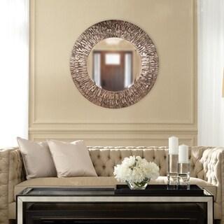 Linden Round Wall Mirror - Champagne/Silver