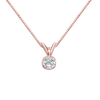 Auriya 14k Gold 1/4ct TDW Round-Cut Diamond Solitaire Bezel Necklace (I-J, SI2-SI3)