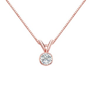 Auriya 14k Gold 1/4ct TDW Bezel-Set Round Diamond Solitaire Necklace (3 options available)