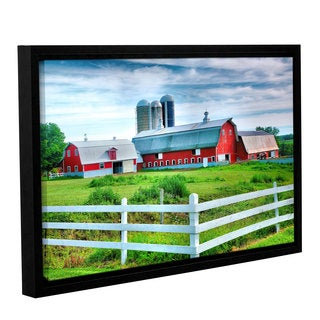ArtWall Steve Ainsworth's Red Barn, White Fence, Gallery Wrapped Floater-framed Canvas