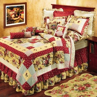 Abby Rose Red and Yellow Floral Patchwork Cotton Standard Sham