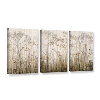ArtWall Cora Niele's Wildflowers Ivory, 3 Piece Gallery Wrapped Canvas Set