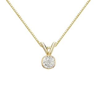 Auriya 14k Gold 1/4ct TDW Round-Cut Diamond Solitaire Bezel Necklace (J-K, I1-I2)