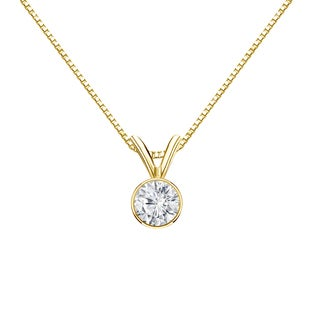 Auriya 14k Gold 1/3ct TDW Round-Cut Diamond Solitaire Bezel Necklace (H-I, VS1-VS2)