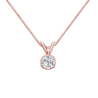 Auriya 14k Gold 1/3ct TDW Round-Cut Diamond Solitaire Bezel Necklace (I-J, SI2-SI3)