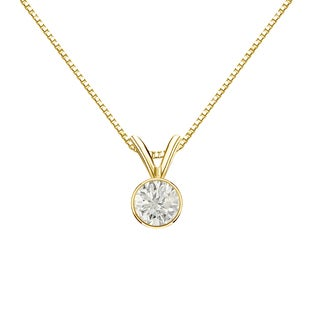 Auriya 14k Gold 1/3ct TDW Round-Cut Diamond Solitaire Bezel Necklace (J-K, I1-I2)
