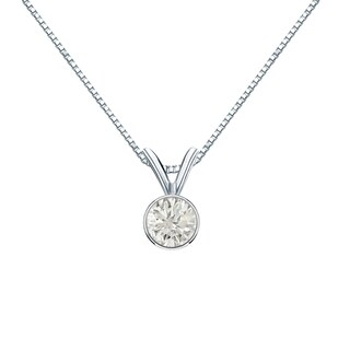 Auriya 14k Gold 1/3ct TDW Round-Cut Diamond Solitaire Bezel Necklace (H-I, SI1-SI2)