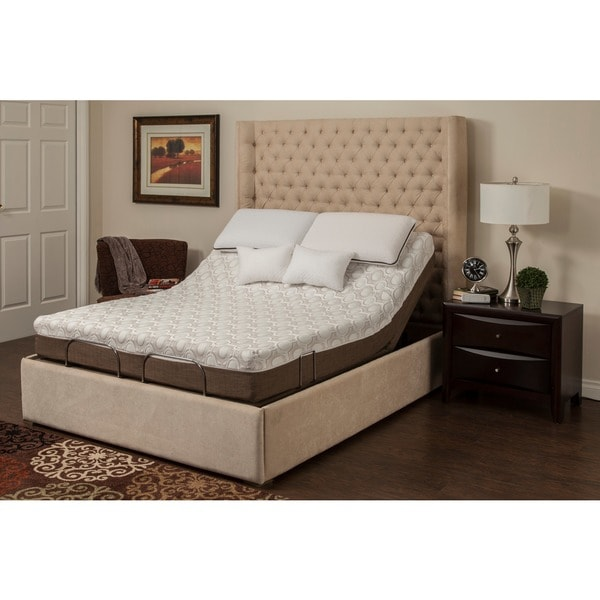 shop blissful nights peony 10 inch queen size memory foam mattress and adjustable base set. Black Bedroom Furniture Sets. Home Design Ideas