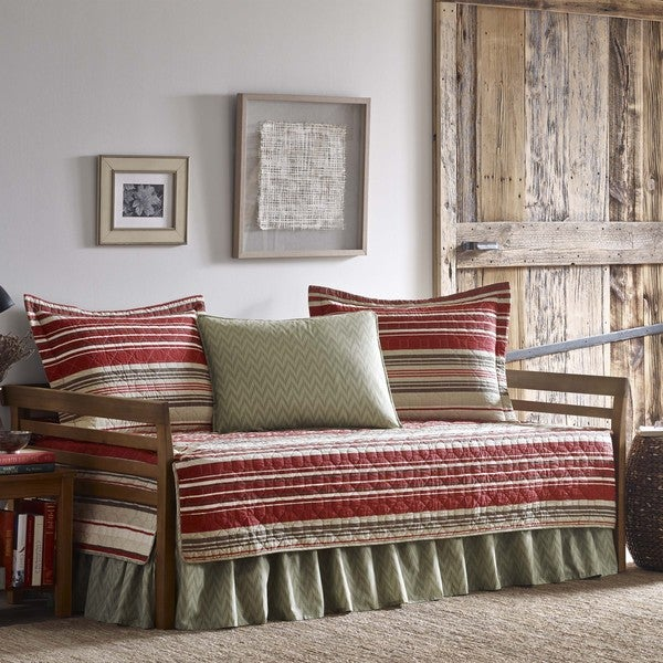 Eddie Bauer Yakima Valley Red Striped Quilt Daybed Cover Set
