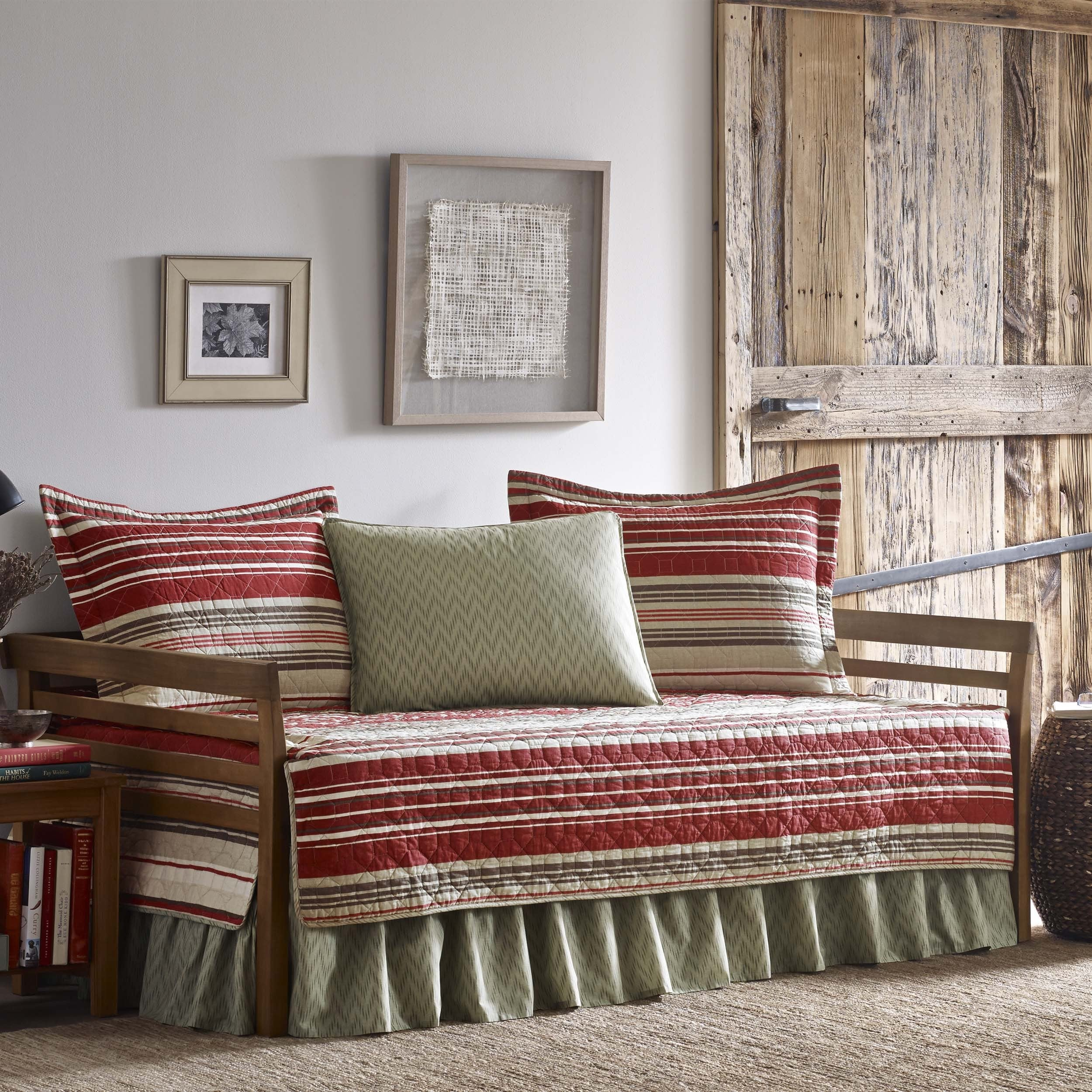 Eddie Bauer Yakima Valley Red Striped Quilt Daybed Cover ...