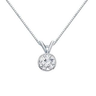 Auriya 14k Gold 1/2ct TDW Round Bezel-Set Diamond Solitaire Necklace