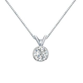 Auriya 14k Gold 1/2ct TDW Round-Cut Diamond Solitaire Bezel Necklace