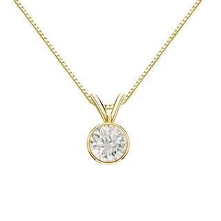 Auriya 14k Gold 1/2ct TDW Round-Cut Diamond Solitaire Bezel Necklace (J-K, I1-I2)