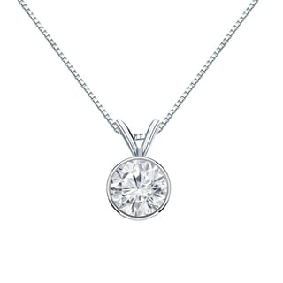 Auriya 14k Gold 3/4ct TDW Round-Cut Diamond Solitaire Bezel Necklace (H-I, VS1-VS2)
