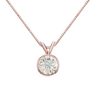 Auriya 14k Gold 3/4ct TDW Round-Cut Diamond Solitaire Bezel Necklace (J-K, SI1-SI2)