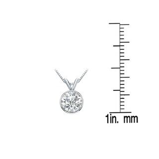 Auriya 14k Gold 3/4ct TDW Round-Cut Diamond Solitaire Bezel Necklace (I-J, SI2-SI3)