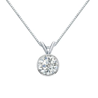 Auriya 14k Gold 3/4ct TDW Round-Cut Diamond Solitaire Bezel Necklace (I-J, SI2-SI3)