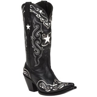 Black Star Starr Black and White Women's Leather Cowboy Boots
