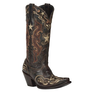 Black Star Starr Blue and Bone Women's Leather Cowboy Boots