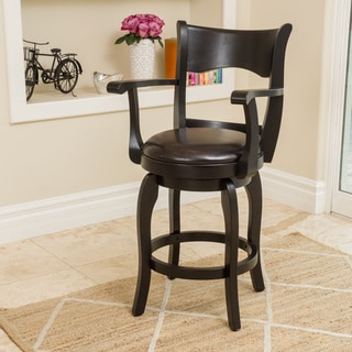 Christopher Knight Home Kolton Armed Bonded Leather Swivel Counter Stool