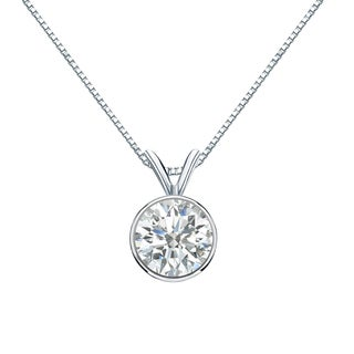 Auriya 14k Gold 1ct TDW Round-Cut Diamond Solitaire Bezel Necklace (I-J, SI2-SI3)
