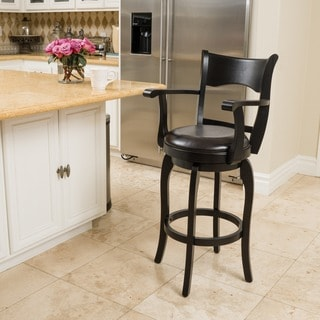 Kolton Armed Bonded Leather Swivel Barstool by Christopher Knight Home