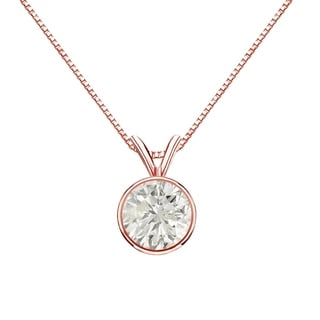 Auriya 14k Gold 1ct TDW Round-Cut Diamond Solitaire Bezel Necklace (J-K, SI1-SI2)