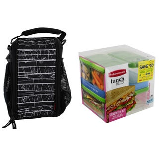 Rubbermaid Small Durable Black Lunch Box Bag with Sandwich Kit