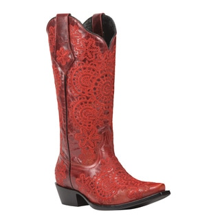 Black Star Medina Red Women's Leather Cowboy Boots