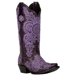 Black Star Medina Purple Women's Leather Cowboy Boots